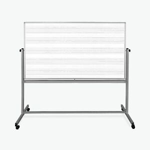 Luxor Reversible Mobile Magnetic 72x48 Magnetic Music Whiteboard