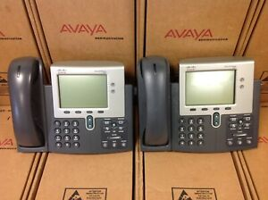 Lot Of 2 Cisco Cp 7941g ge Ip Phone 2 Button Voip Gigabit Ethernet With Display