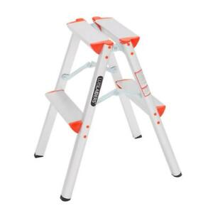 New Portable 2 Step Ladder Foldable Step Stool Ladder Lightweight 330lbs Load