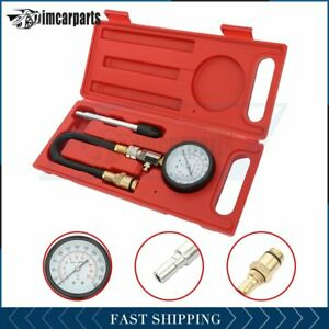 Auto Engine Cylinder Gasoline Pressure Tester Dual Guage Compression Kit