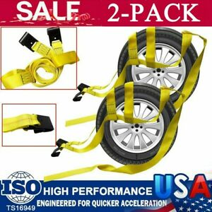 Set Of 2 Tow Dolly Straps Basket Strap W Flat Hook Heavy Duty Yellow Car Tire