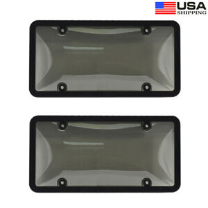 2 Set Tinted Clear Smoke License Plate Carbon Fiber Frame Cover Shield Car Truck