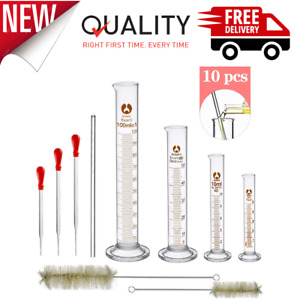 Glass Graduated Cylinder Set Thick Lab Cylinders 5ml 10ml 50ml 100ml Measuring