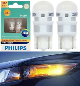 Philips Ultinon Led Light 168 Amber Two Bulb Rear Side Marker Park Replace Fit
