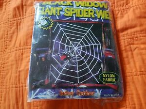 Black Widow Giant Spider Web Indoor Outdoor Nylon Fabric 9#x27; Feet White NIP