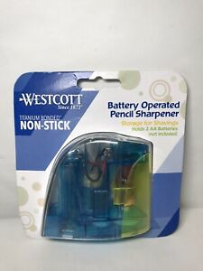Westcott Battery Operated Pencil Sharpener Titanium Bonded Non stick Blue gr