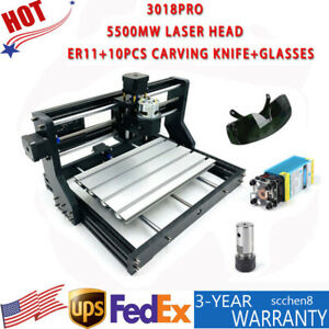 3 Axis 3018 Pro Machine Router Cnc Engraving Pcb Wood Diy Mill 5500mw Laser Head