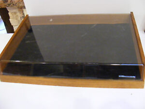 Tabletop Jewelry Holder Display Case Box Wood Lucite Sliding Bottom Drawer Shows