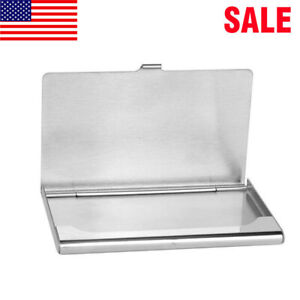 Pocket Stainless Steel Metal Business Card Holder Case Id Credit Wallet New