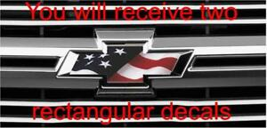 American Usa Flag Chevy Overlay Decals Stickers For Bowtie Emblem 2 U Cut