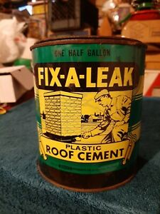 Fix a Leak Plastic Roof Cement 1 Half Gallon Metal Can Older Dried Contents