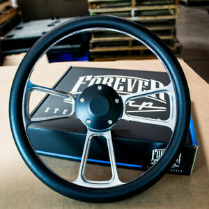 14 Polished Half Wrap Black Steering Wheel For Chevy Muscle C10 Ford Hot Rod