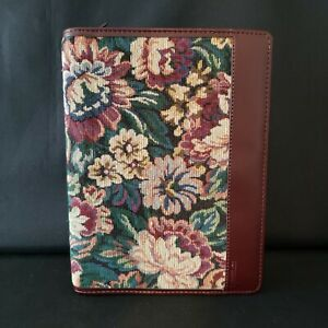 Day Runner Zip Around Burgundy Floral Tapestry Faux Leather Planner Organizer