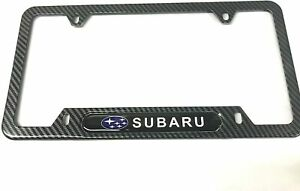 Carbon Fiber Stainless Steel License Plate Cover Frames Screw Caps For Subaru