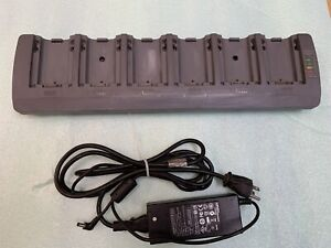 Used Psion Teklogix 6 Bay Battery Charger St3006 Ac Power Supply Omnii Xt15 Xt10