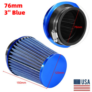 3in Car High Flow Cold Air Filter Intake Induction Kit Dry Type Mesh Cone Blue