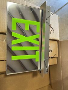 Copper Lighting Double Sided Mirrow Exit Light W Green Letters Es7270gmc