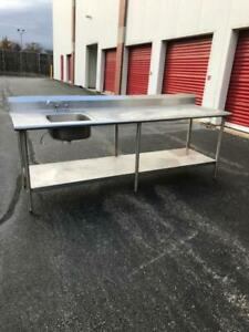 8 All Stainless Steel Eagle Group Work Table With Prep Sink