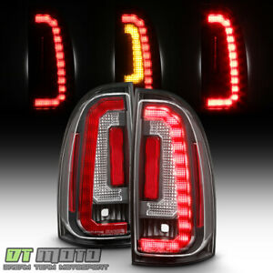For 2005 2015 Toyota Tacoma Pickup Black Led Strip Tail Lights Lamps Left right