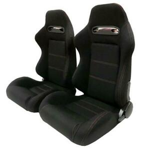 Pair Reclinable Car Racing Seats Chair Slider Sports Bucket Cloth Left Right