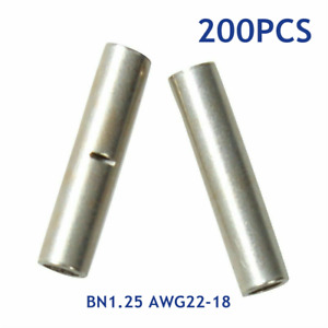 200pcs 22 18 Gauge Electrical Wire Seamless Non insulated Butt Crimp Connectors