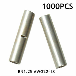1000pcs 22 18 Gauge Electrical Wire Seamless Non insulated Butt Crimp Connectors