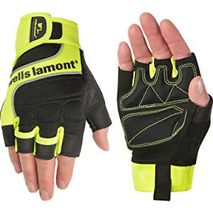 Wells Lamont Men s Hi viz Fingerless Synthetic Leather Work Gloves 841y