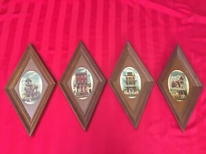 Alice Smith Victorian House Homes Pictures Wall Hanging Vintage Framed Set Of 4