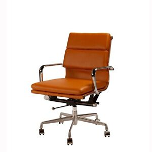 Mid century Modern Office Chair Basketball Brown Faux Leather Eames Style