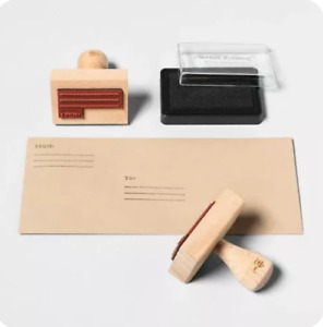 Hearth Hand With Magnolia Rubber Address Stamp Set Wood Nwt