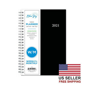 Sky Blue2021 Weekly Monthly Planner Flexible Cover Twin wire Binding