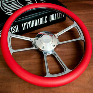 14 Polished Half Wrap Steering Wheel For Chevy Muscle C10 Ford Hot Rod Red