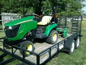 4wd John Deere 1023e Tractor 104 Hours Rotor Tiller And Trailer