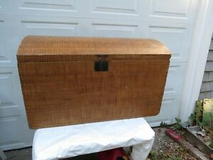 Antique Grain Painted Dome Top Immigrants Trunk