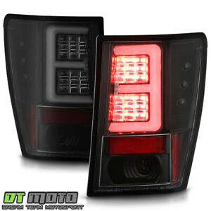 2007 2010 Jeep Grand Cherokee Black Smoke Led Tube Tail Lights Brake Lamps Pair
