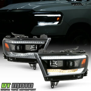 2019 2020 Ram 1500 Halogen Black Led Drl Sequential Signal Projector Headlights