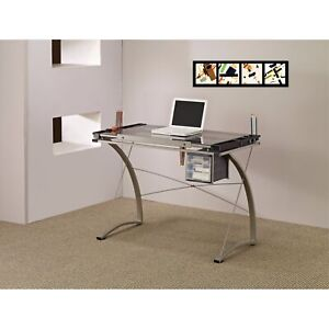 Sophisticated Metal Drafting Desk With Tempered Glass Top Gray