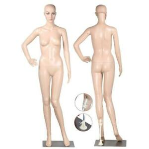 69 29 Full Body Female Mannequin W Base Plastic Realistic Display Head Turns