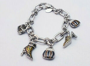 Cookie Lee Pocket Book Shoes Shopping Themed Enameled Rhinestone Charm Bracelet $7.00