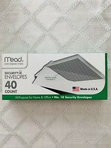 Mead White Security Business Legal Envelopes No 10 Size 4 1 8 X 9 1 2 40 Count