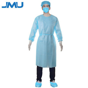 Lot 100 Pcs Isolation Gown Medical Dental Blue With Knit Cuff free Shipping