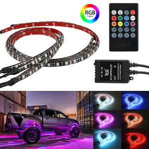 4pcs Rgb Led Under Car Tube Strip Underbody Underglow Neon Light remote Control