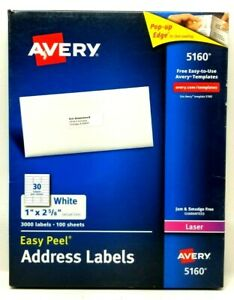 Avery Easy Peel Laser Address Labels 1 X 2 5 8 5160 68 Sheets 2040 Labels K5