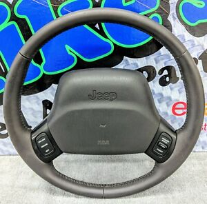 1997 2001 Jeep Cherokee Xj Agate Leather Steering Wheel Cruise Oem