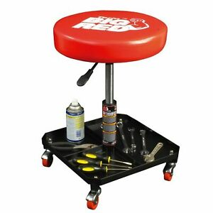 Rolling Pneumatic Creeper Seat Mechanic Stool Shop Garage Adjustable Large Tray
