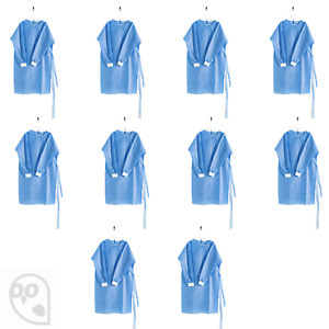 10 X Medical Dental Isolation Gowns Disposable Knit Cuff Fluid Level 1 35gsm
