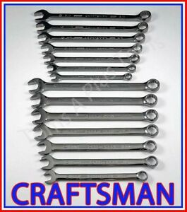 Craftsman Tools 14pc Gunmetal Chrome Sae Metric Mm 12pt Combination Wrench Set