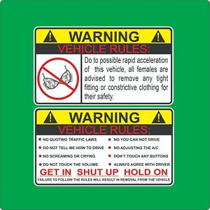 2 Vehicle Rules Funny Sticker Car Truck Decal No Bra Warning Jdm Auto Drift Fast