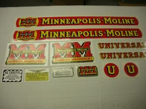 Minneapolis Moline Model U Tractor Decal Set New Free Shipping