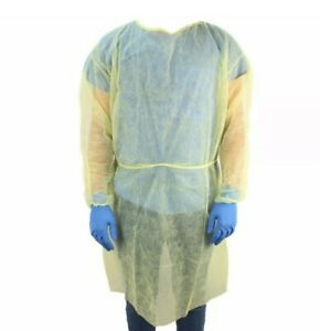50 Count Everone Disposable Isolation Medical Dental Gown Yellow Brand New